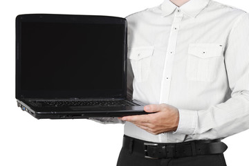 closeup of businessman in white shirt showing laptop isolated
