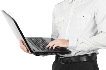 closeup of businessman in white shirt with laptop isolated