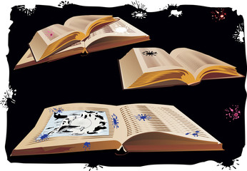 three open books on black