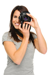 Pretty woman taking pictures
