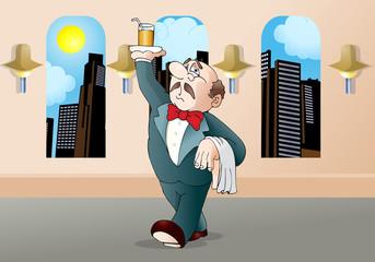 restaurant waiter cartoon