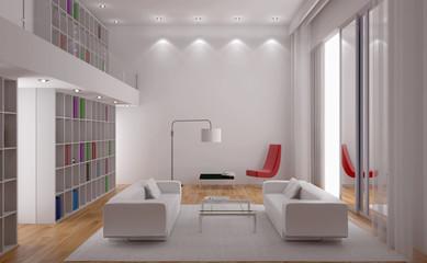 Interno con divani libreria e finestra