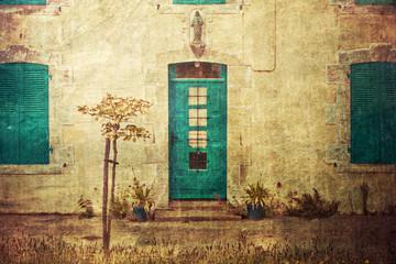 Fotomurales - altes Haus in der Bretagne im vintage-look
