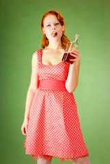 Pin-up style girl holds the cork