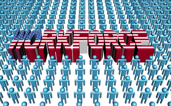 American workforce with flag text illustration