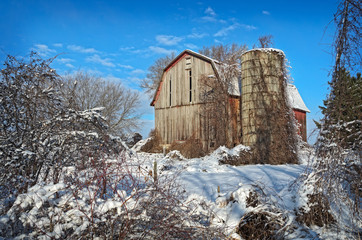 Abandoned Barn in Winter Snow