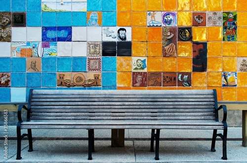 Phenomenal Ceramic Tile Art Behind A Bench Stock Photo And Royalty Spiritservingveterans Wood Chair Design Ideas Spiritservingveteransorg
