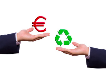 hand exchange euro and recycle sign