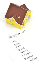 Model house and shopping list