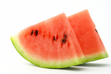 slice of watermelon on white background isolated