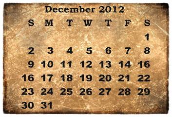 old grunge monthly calendar 2012