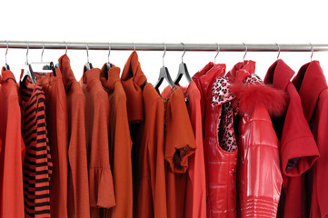 Fashion red clothes rack display