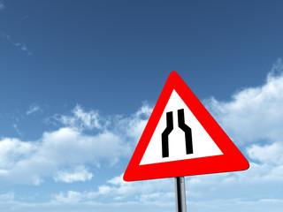 Verkehrszeichen Verengte Fahrbahn