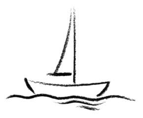 sketched boat