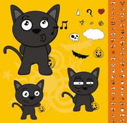 halloween black cat cartoon set1
