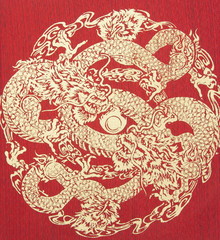 Abstract, Gold Dragon on silk