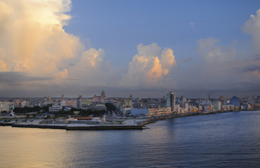 Havana bay entrance and city skyline at sunset time