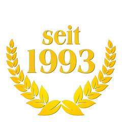 seit 1993 jubiläum lorbeerkranz lorbeer gold
