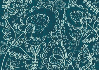 Vector colored wallpaper with beautiful abstract flowers