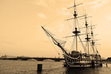 Sailing ship. Sepia.