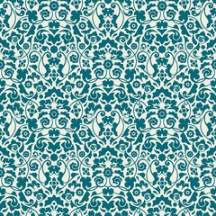 Seamless Damask Pattern Turquoise Wallpaper