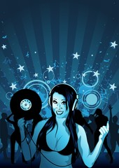 Girl DJ and Grunge Background Illustration