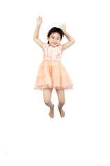 happy asian little jumping in the air