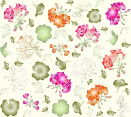 Seamless background. Illustration geranium.