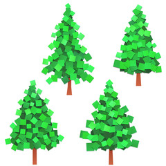 set of conifers gathered from paper pieces