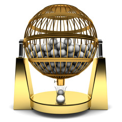 Golden cage full of balls to play bingo, isolated on white background