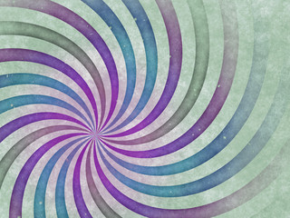 Spiral in green, blue and purple
