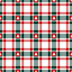 Seamless Pattern Check Christmas Tree Red/Green/White