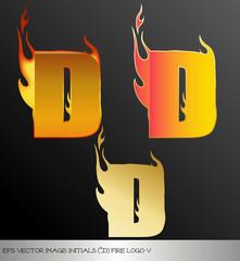 Fototapeta eps Vector image: initials (d)  metallic fire logo Ⅴ obraz