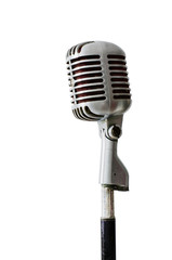 Old Chrome microphone on white