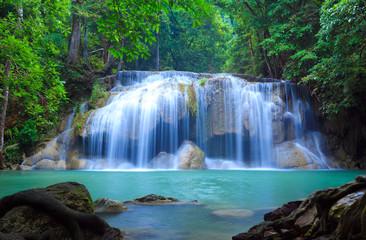 Canvas Prints Night blue Erawan Waterfall, Kanchanaburi, Thailand