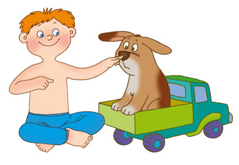 The boy presses on a nose to a puppy and on the breast