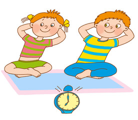 little boy and girl represent the clock