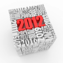 New year 2012. Cube consisting of the numbers