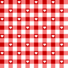 Seamless Pattern Red Check Heart