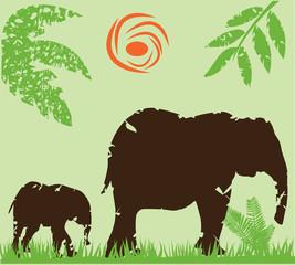 vector grunge elephant family