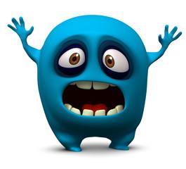Türaufkleber Nette Monster blue monster
