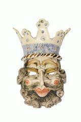 Maschera in ceramica, re matto