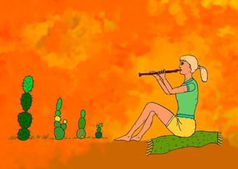 Flötenspielerin in der Wüste
