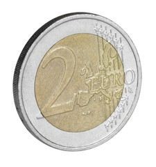 two euro coin closeup