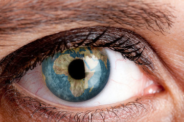 Eye with the earth inside