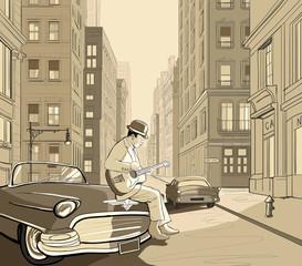Printed roller blinds Art Studio guitarist in an old street of New york