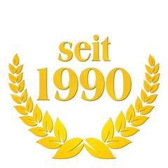 seit 1990 jubiläum lorbeerkranz lorbeer gold