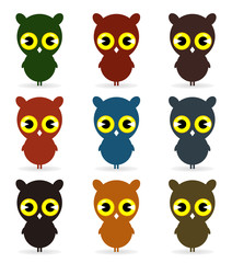 Set of icons of birds of owls. A vector illustration