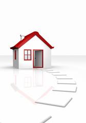 Das kleine süße Haus mit rotem Dach
