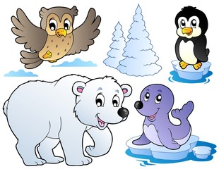Various happy winter animals